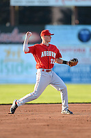 Auburn Doubledays shortstop David Masters #22 during a game against the Batavia Muckdogs on June 18, 2013 at Dwyer Stadium in Batavia, New York.  Batavia defeated Auburn 10-2.  (Mike Janes/Four Seam Images)