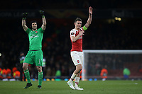 Petr Cech and Laurent Koscielny of Arsenal celebrate their 2-0 victory at the final whistle during Arsenal vs Napoli, UEFA Europa League Football at the Emirates Stadium on 11th April 2019