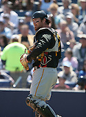 Ryan Doumit of the Pittsburgh Pirates vs. the New York Yankees March 18th, 2007 at Legends Field in Tampa, FL during Spring Training action.  Photo copyright Mike Janes Photography 2007.
