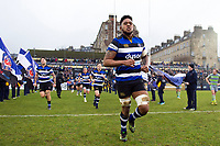 Levi Douglas and the rest of the Bath Rugby team run out onto the field. Anglo-Welsh Cup match, between Bath Rugby and Newcastle Falcons on January 27, 2018 at the Recreation Ground in Bath, England. Photo by: Patrick Khachfe / Onside Images
