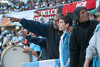 An Argentina fan points out at the pitch during the match at Soccer City in Johannesburg, South Africa on Thursday, June 17, 2010 between  Argentina's and South Korea FIFA World Cup first round match.