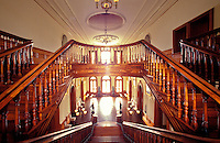 Stairwells in Iolani palace, a four-story Italian Renaissance palace built in 1882 and a home of Hawaiian royalty, Honolulu
