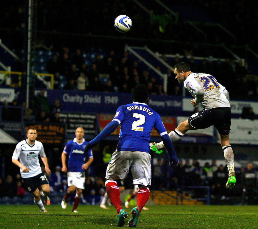 Preston North End's Chris Beardsley heads at the goal..Football - npower Football League Division One - Portsmouth v Preston North End - Saturday 15th December 2012 - Fratton Park - Portsmouth..