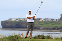 Tony Cleary (Dromoland Castle) on the 12th tee during Round 3 of The South of Ireland in Lahinch Golf Club on Monday 28th July 2014.<br /> Picture:  Thos Caffrey / www.golffile.ie