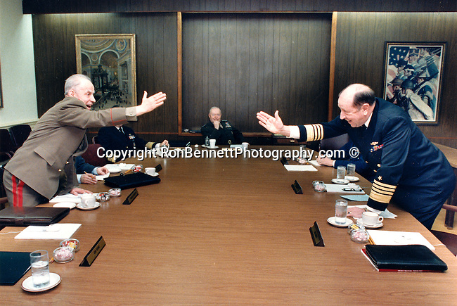 Marshal Soviet Union Sergey F. Akhromeyev and Admiral William Crowe at Pentagon, Russian Military figure was heavily involved in talks to end the Cold War, Admiral William James Crowe, Jr Chairman of Joint Chiefs of Staff under President Ronald Reagan,