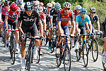 The peloton including Gianni Moscon (ITA) Team Sky and Vincenzo Nibali (ITA) Bahrain-Merida during Stage 19 of the 2017 La Vuelta, running 149.7km from Caso. Parque Natural de Redes to Gij&oacute;n, Spain. 8th September 2017.<br /> Picture: Unipublic/&copy;photogomezsport | Cyclefile<br /> <br /> <br /> All photos usage must carry mandatory copyright credit (&copy; Cyclefile | Unipublic/&copy;photogomezsport)