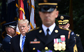 United States President Donald J. Trump participates in a wreath-laying ceremony at the Tomb of the Unknown Soldier at Arlington National Cemetery on Memorial Day , May 29, 2017 in Arlington, Virginia. <br /> Credit: Olivier Douliery / Pool via CNP