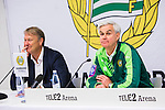 Stockholm 2015-10-25 Fotboll Allsvenskan Hammarby IF - Malm&ouml; FF :  <br /> Hammarbys tr&auml;nare Nanne Bergstrand bredvid Malm&ouml;s tr&auml;nare &Aring;ge Hareide p&aring; presskonferensen efter matchen mellan Hammarby IF och Malm&ouml; FF <br /> (Foto: Kenta J&ouml;nsson) Nyckelord:  Fotboll Allsvenskan Tele2 Arena Hammarby HIF Bajen Malm&ouml; FF MFF portr&auml;tt portrait tr&auml;nare manager coach press presskonferens