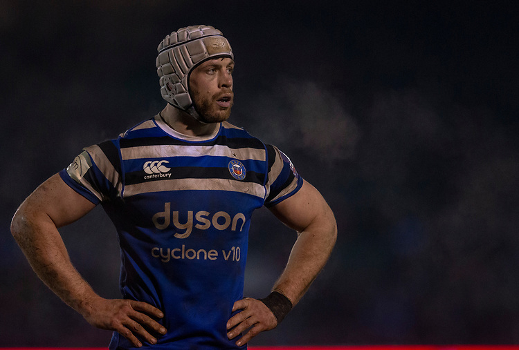 Bath Rugby's Dave Attwood<br /> <br /> Photographer Bob Bradford/CameraSport<br /> <br /> Gallagher Premiership - Bath Rugby v Gloucester Rugby - Monday 4th February 2019 - The Recreation Ground - Bath<br /> <br /> World Copyright &copy; 2019 CameraSport. All rights reserved. 43 Linden Ave. Countesthorpe. Leicester. England. LE8 5PG - Tel: +44 (0) 116 277 4147 - admin@camerasport.com - www.camerasport.com