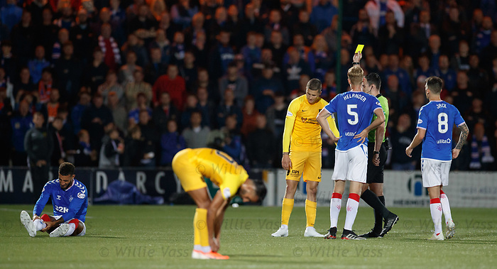25.09.2018 Livingston v Rangers: Lyndon Dykes booked