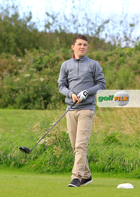 Tom O'Hara (Co. Sligo) on the 3rd tee during the Under 18 Close Strokeplay of the GolfStyle Connacht Junior Close Championship Finals at Galway Bay Golf Club on Tuesday 11th August 2015.<br /> Picture:  Thos Caffrey / www.golffile.ie