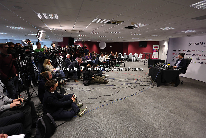 Thursday 21 February 2013<br /> Pictured: Dozens of members of the press from as far as Spain and Denmark attending the Swansea manager Michael Laudrup press conference.<br /> Re: Swansea City FC training and press conference at The Liberty Stadium, ahead of the Capital One Cup final against Bradford which will take place at the Wembley Stadium.