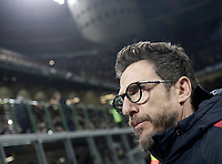 Calcio, Serie A: Inter - Roma, Milano, stadio Giuseppe Meazza (San Siro), 21 gennaio 2018.<br /> AS Roma's coach Eusebio Di Francesco reaches the bench before the start of  the Italian Serie A football match between Inter Milan and AS Roma at Giuseppe Meazza (San Siro) stadium, January 21, 2018.<br /> UPDATE IMAGES PRESS/Isabella Bonotto