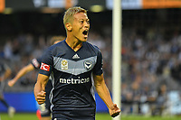 Melbourne, December 1, 2018 - Keisuke Honda of Melbourne Victory celebrates after kicking a goal in the round six match of the A-League between Melbourne Victory and Western Sydney Wanderers at Marvel Stadium, Melbourne, Australia.