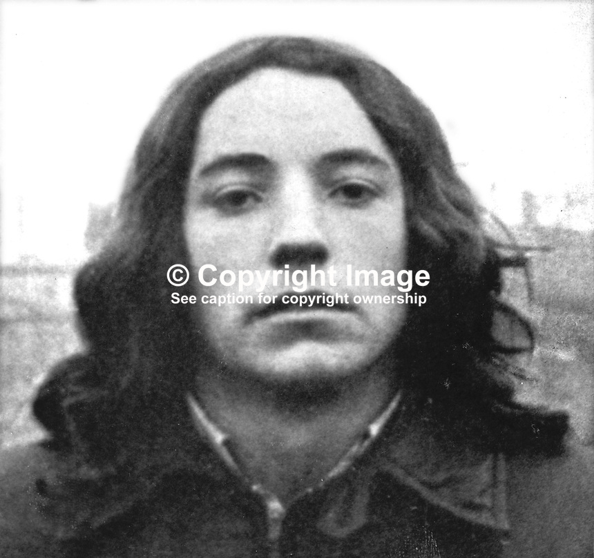 James Gerard Walsh, 19 years, single, who briefly escaped from Long Kesh prison, N Ireland, on 24th November 1974. He was a Provisional IRA internee. In all 33 republicans were involved in the breakout. 197411060605JGW<br /> <br /> Copyright Image from Victor Patterson, 54 Dorchester Park, Belfast, UK, BT9 6RJ<br /> <br /> t1: +44 28 9066 1296 (from Rep of Ireland 048 9066 1296)<br /> t2: +44 28 9002 2446 (from Rep of Ireland 048 9002 2446)<br /> m: +44 7802 353836<br /> <br /> e1: victorpatterson@me.com<br /> e2: victorpatterson@gmail.com<br /> <br /> The use of my copyright images is subject to my Terms &amp; Conditions.<br /> <br /> It is IMPORTANT that you familiarise yourself with them. They are available on my website at www.victorpatterson.com.<br /> <br /> None of my copyright images may be used on a website unless they are visibly watermarked, i.e. &copy; Victor Patterson within the body of the visible image. Metadata denoting my copyright must NOT be deleted. <br /> <br /> Web use is extra at currently recommended NUJ rates.