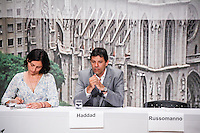 ATENCAO EDITOR: FOTO EMBARGADA PARA VEICULO INTERNACIONAL - SAO PAULO, SP, 20 DE SETEMBRO DE 2012 - COLOQUIO ARQUIDIOCESE DE SAO PAULO - O candidato do PT a prefeitura de Sao Paulo Fernando Haddad (D) e a candidata Soninha Francine do PPS  durante debate promovido pela Arquidiocese de São Paulo na tarde dessa quinta-feira, na regiao leste da capital paulista. FOTO: WILLIAM VOLCOV - BRAZIL PHOTO PRESS.