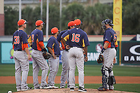 Houston Astros infielders gather at the pitching mound for a pitching change against the Miami Marlins during a spring training game at the Roger Dean Complex in Jupiter, Florida on March 12, 2013. Houston defeated Miami 9-4. (Stacy Jo Grant/Four Seam Images)........