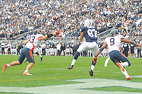 02 November 2013:  Penn State TE Kyle Carter (87) catches the game winning touchdown pass in overtime. The Penn State Nittany Lions defeated the Illinois Illini 24-17 in OT at Beaver Stadium in State College, PA.