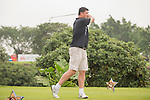 Yao Ming tees off during the World Celebrity Pro-Am 2016 Mission Hills China Golf Tournament on 23 October 2016, in Haikou, Hainan province, China. Photo by Marcio Machado / Power Sport Images