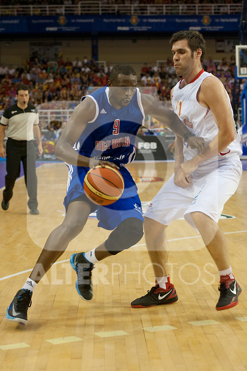 Spain's  Fernando San Emerito and Great Britain's Luol Deng during friendly match.July 9,2012.(ALTERPHOTOS/Ricky)