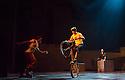 London, UK. 30.09.2013. Cirque Eloize present their new, urban, show iD, at the Peacock Theatre. The company comprises: Ignacio Adarve, Lisa Eckert, Nicolas Fortin, Nadia Lumley, Justine Methe-Crozat, Batiste Montassier, Conor Neall, Forty Nguyen, Thibaut Philippe, Angel Sanchez, Jerome Sordillon, Jeremy St-Jean, Jon Larrucea, Kone Thong Vongpraseuth, Emi Vauthey.  Picture shows: Thibaut Philippe (Trial Bike). Photograph © Jane Hobson.