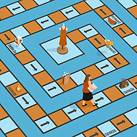 Woman on game board using treats as incentives while dieting ExclusiveImage