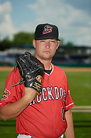 Batavia Muckdogs Andrew Miller (8) poses for a photo before a NY-Penn League game against the State College Spikes on July 3, 2019 at Dwyer Stadium in Batavia, New York.  State College defeated Batavia 6-4.  (Mike Janes/Four Seam Images)