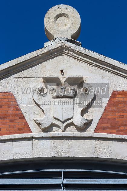 France, Aquitaine, Pyrénées-Atlantiques, Pays Basque, Biarritz:  Les Halles de Biarritz , Fronton des halles  //  France, Pyrenees Atlantiques, Basque Country, Biarritz: Biarritz Market-house pediment