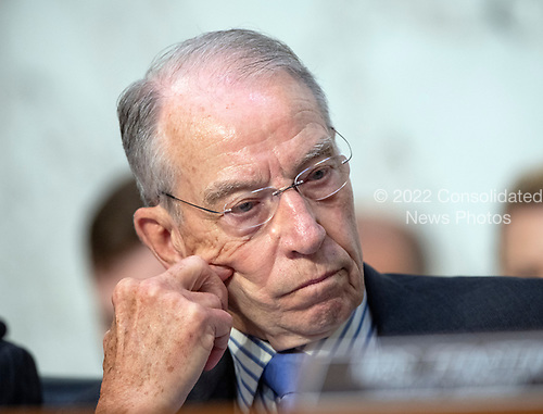 """United States Senator Chuck Grassley (Republican of Iowa), chairman, listens as US Senator Dianne Feinstein (Democrat of California), ranking member, joins in the debate about the release of documents designated """"committee confidential"""" prior to the US Senate Judiciary Committee beginning the third day of testimony from Judge Brett Kavanaugh on his nomination as Associate Justice of the US Supreme Court to replace the retiring Justice Anthony Kennedy on Capitol Hill in Washington, DC on Thursday, September 6, 2018.<br /> Credit: Ron Sachs / CNP<br /> (RESTRICTION: NO New York or New Jersey Newspapers or newspapers within a 75 mile radius of New York City)"""