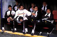 The National team bench showing Michael Ballack, Marko Rehmer, Carsten Jancker, Jens Lehmann, Jens Nowotny, Michael Preetz and Ulf Kirsten  ; Lehmann has been named to replace the outgoing Jurgen Klinsmann, as coach of Hertha Belin FC of the German Bundesliga team