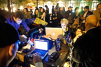 "The media center at the protest ""Occupy Wall Street"" which continues into its third week in Zuccotti Park in New York City on October 6, 2011."
