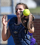 The ball flies past the outstretched glove of Breese Central catcher Chae Wise in a play at the plate allowing a run by Freeburg baserunnner Chloe Schanuel. Breese Central High School played at Freeburg High School on Tuesday May 1, 2018. Tim Vizer | Special to STLhighschoolsports.com