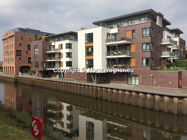 Germany, Buxtehude -- August 26, 2017 -- New modern architecture / apartment buildings near the harbor at river Este -- © HorstWagner.eu