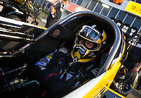 Apr 25, 2014; Baytown, TX, USA; NHRA top fuel driver Tony Schumacher during qualifying for the Spring Nationals at Royal Purple Raceway. Mandatory Credit: Mark J. Rebilas-USA TODAY Sports