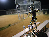 The Delaware Valley Synagogue League modified fast pitch softball championship trophy sits with the Ohev Shalom team as they played Shir Ami Monday August 1, 2016 in Southampton, Pennsylvania. (Photo by William Thomas Cain)