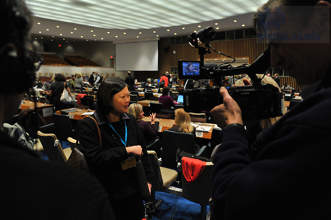 Mendoza College of Business Dean Carolyn Woo is interviewed at the Global Forum for Responsible Management Education, held at United Nations headquarters, New York City...Photo by Matt Cashore/University of Notre Dame