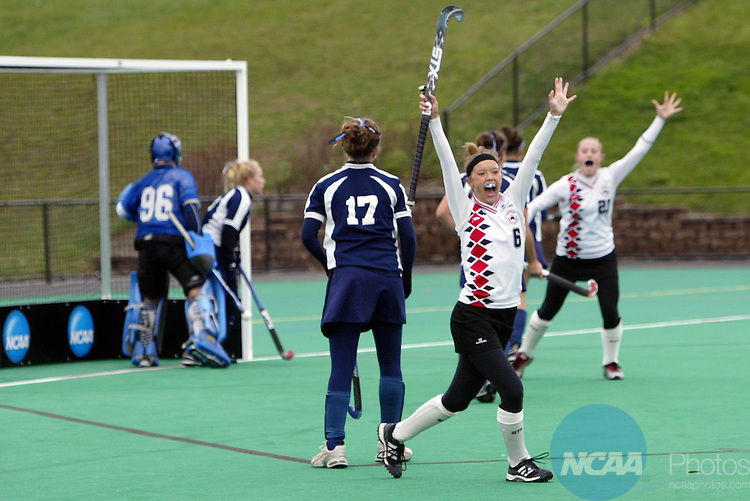 18 NOV 2006: Lindsay Cappa of Ursinus College celebrating her first half goal during the NCAA Women's Division III Field Hockey championship game held at McCooey Field on the campus of William Smith College in Geneva, NY.  Ursinus College defeated Messiah College 3-2 to win the national title.  Dick Blume/NCAA Photos