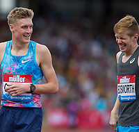 Tom BOSWORTH of GBR and Adam CLARKE of GBR after completing the Walk (1000m) vs Run (1400m) race during the Muller Grand Prix Birmingham Athletics at Alexandra Stadium, Birmingham, England on 20 August 2017. Photo by Andy Rowland.