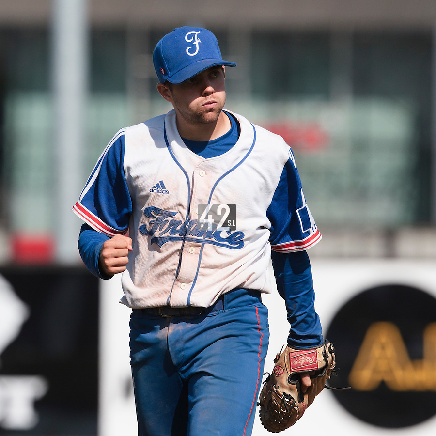 19 August 2010: Sebastien Duchossoy of Team France reacts as he pitches against Slovakia during France 7-6 win over Slovakia, at the 2010 European Championship, under 21, in Brno, Czech Republic.