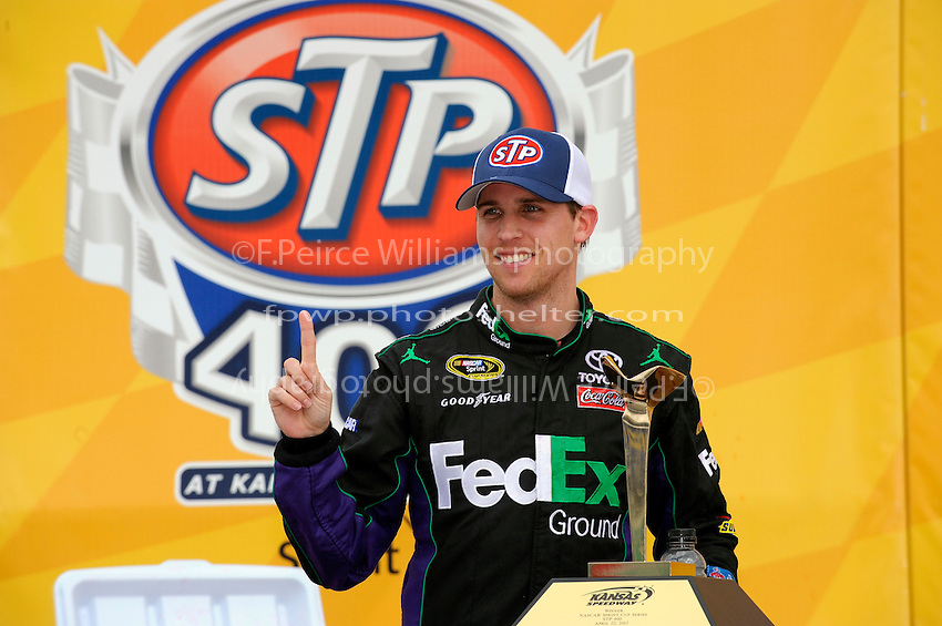 Winner Denny Hamlin, (#11) FedEx Ground Camry, in Victory Lane.