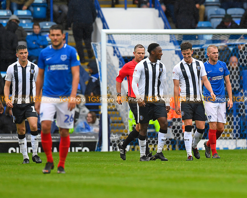 Alex Lacey of Gillingham (2R) celebrates scoring the second goal as Gareth Evans of Portsmouth left trudges back for the kick off during Portsmouth vs Gillingham, Sky Bet EFL League 1 Football at Fratton Park on 6th October 2018