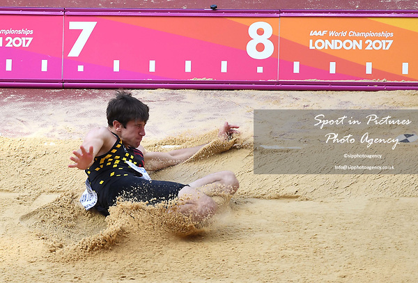 Thomas VAN DER PLAETSEN (BEL) in the mens decathlon long jump. IAAF world athletics championships. London Olympic stadium. Queen Elizabeth Olympic park. Stratford. London. UK. 11/08/2017. ~ MANDATORY CREDIT Garry Bowden/SIPPA - NO UNAUTHORISED USE - +44 7837 394578