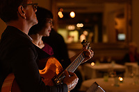 Melbourne, August 6, 2018 - Jackie Bornstein and James Sherlock perfom at a Jazz night at Philippe Restaurant in Melbourne, Australia. Photo Sydney Low