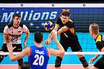 13.09.2019, Paleis 12, BrŸssel / Bruessel<br />Volleyball, Europameisterschaft, Deutschland (GER) vs. Serbien (SRB)<br /><br />Julian Zenger (#10 GER), Annahme Ruben Schott (#3 GER)<br /><br />  Foto © nordphoto / Kurth