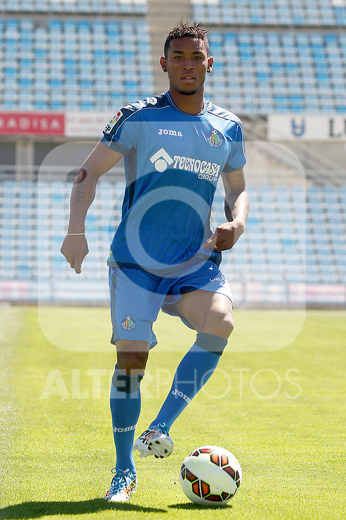 Getafe's new player Fredy Hinestroza during his official presentation. July 21, 2014. (ALTERPHOTOS/Acero)