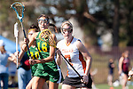 Santa Barbara, CA 02/13/10 - Mary Walsh (Oregon #16) and Grace Jackson (Texas #7) in action during the Texas-Oregon game at the 2010 Santa Barbara Shoutout, Texas defeated Oregon 11-9.