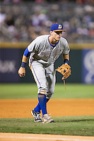 Durham Bulls third baseman Richie Shaffer (28) on defense against the Charlotte Knights at BB&T BallPark on July 22, 2015 in Charlotte, North Carolina.  The Knights defeated the Bulls 6-4.  (Brian Westerholt/Four Seam Images)