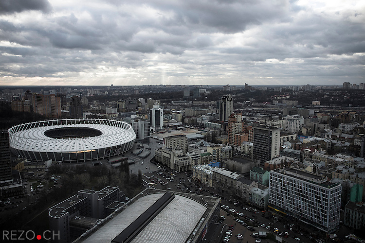 Kiev, Ukraine, 5 december 2013. Aerial view of Kiev from the building of Gulliver shopping and business center.