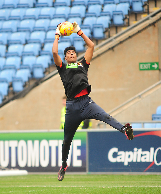 Coventry City's Corey Addai during the pre-match warm-up <br /> <br /> Photographer Andrew Vaughan/CameraSport<br /> <br /> Football - The Football League Sky Bet League One - Coventry City v Fleetwood Town - Saturday 27th February 2016 - Ricoh Stadium - Coventry   <br /> <br /> &copy; CameraSport - 43 Linden Ave. Countesthorpe. Leicester. England. LE8 5PG - Tel: +44 (0) 116 277 4147 - admin@camerasport.com - www.camerasport.com