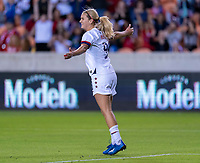 HOUSTON, TX - FEBRUARY 03: Lindsey Horan #9 of the United States celebrates during a game between Costa Rica and USWNT at BBVA Stadium on February 03, 2020 in Houston, Texas.